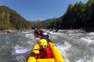 Cano-raft and kayak-raft activities on the river Ubaye
