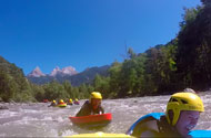 Swimming in whitewater and hydrospeed on the river Ubaye