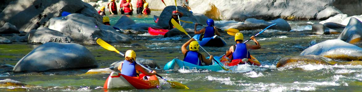 Cano-raft in action on the river Ubaye